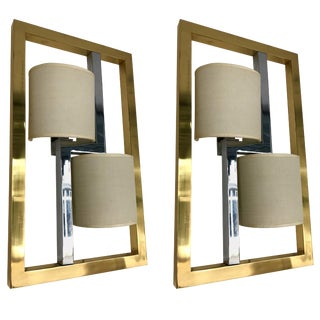 Pair of Sconces Brass and Chrome by Banci, Italy, 1980s For Sale