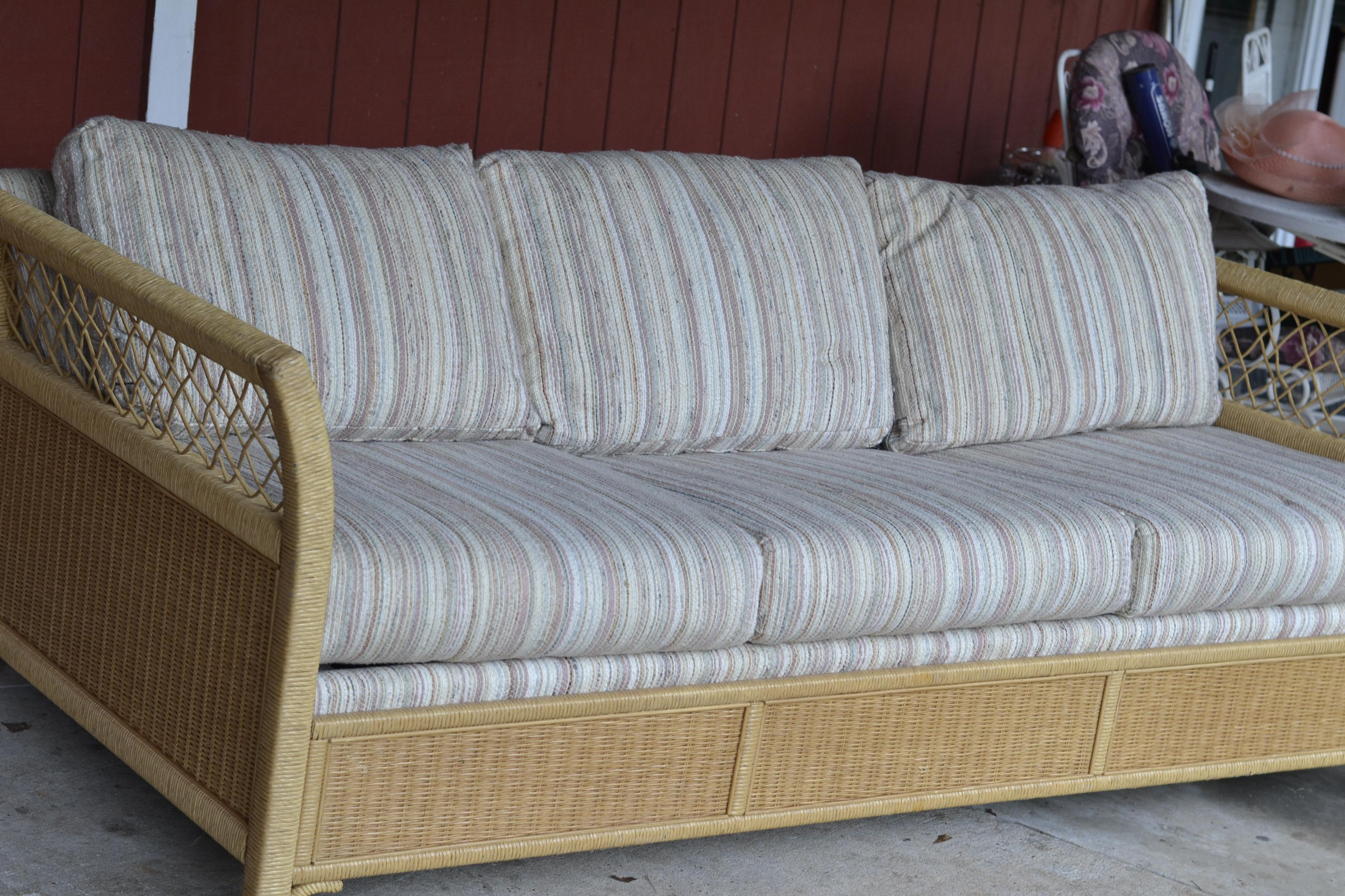 Beau Woven Wicker Rattan Sleeper Sofa By Henry Link For Sale   Image 5 Of 10