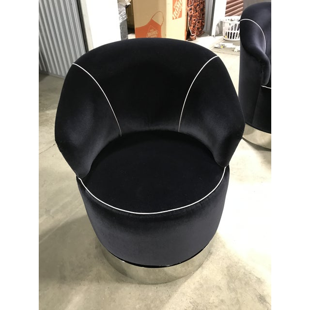 1990 Vintage Black Barrel Chair Sally Sirken for J. Robt. Scott - a Pair For Sale - Image 9 of 10