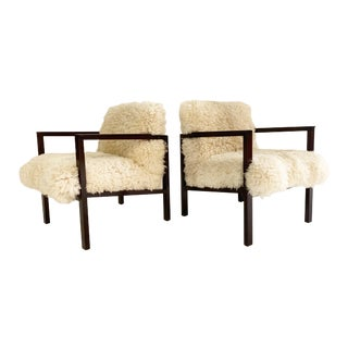 Edward Wormley Model 406 Chairs in California Sheepskin, Pair For Sale