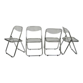 Chrome & Lucite Folding Chairs Dining Side Sleek Metal Modern Design - Set of 4 For Sale
