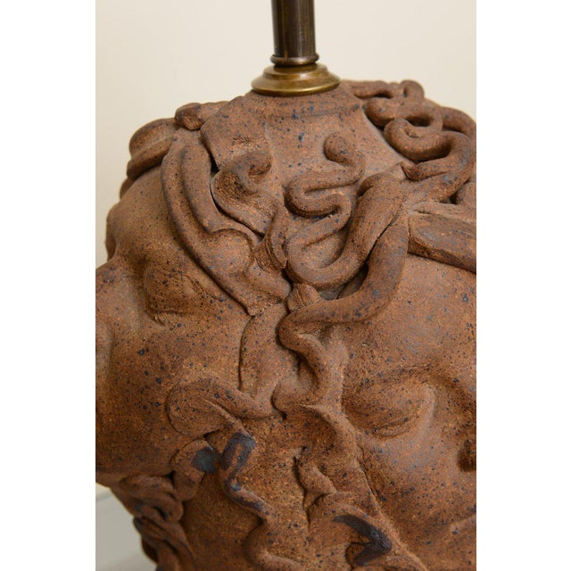 Orange 1960s Italian Medusa Head Studio Pottery Sculpted Lamp For Sale - Image 8 of 11