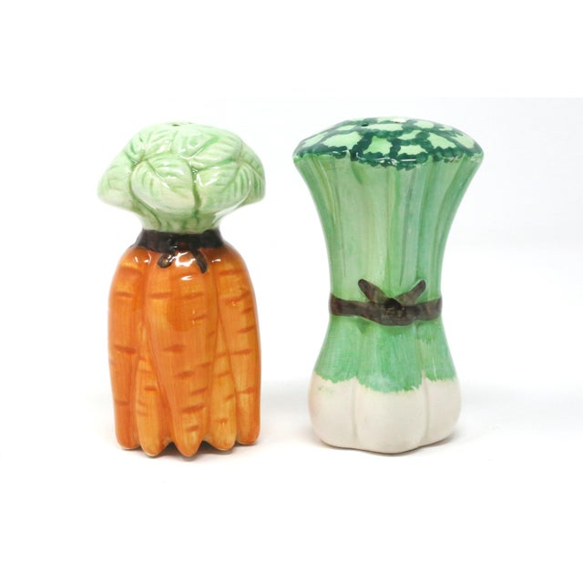 Vintage Ceramic Carrots and Leeks Salt & Pepper Shakers - Set of 2 For Sale - Image 9 of 9