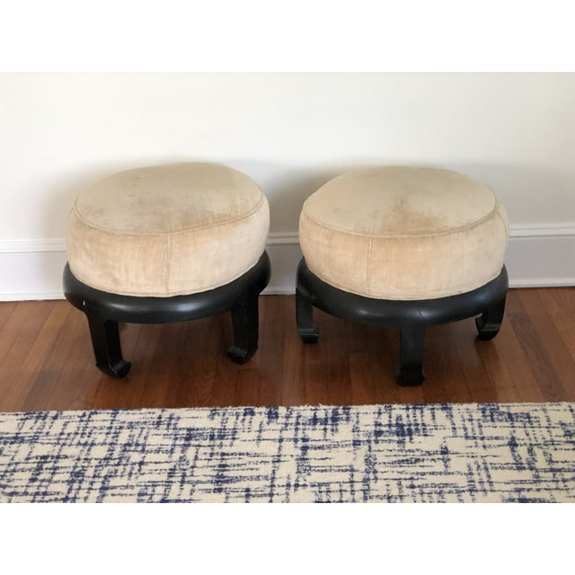 Mid 20th Century Vintage Chinoiserie Ottomans Bill Meyer Lamps Inc- a Pair For Sale - Image 5 of 7