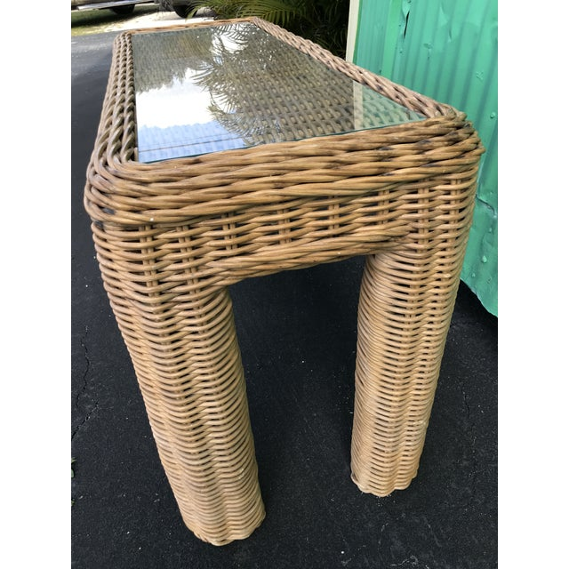 Wicker VintageBraid Wicker Console Table For Sale - Image 7 of 11