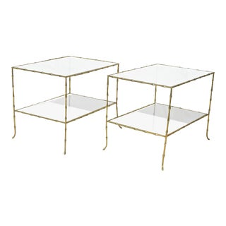 Faux Bamboo Bagues Style Tables - a Pair
