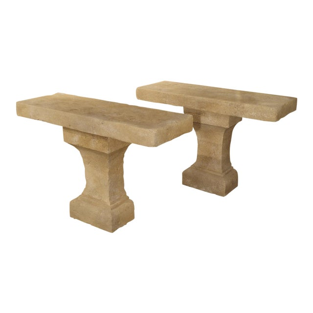 Pair of Carved Limestone Console Tables from the South of France - Image 1 of 11