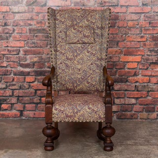 Late 19th Century Antique Danish Baroque Oak Wing Back Chair Preview