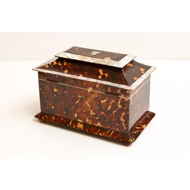 Mid 19th Century 19th Century Tortoise Shell Tea Caddy with Mother of Pearl Inlay For Sale - Image 5 of 6