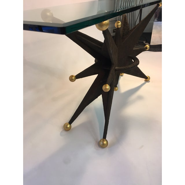 SPECTACULAR ITALIAN BRUTALIST STARBURST AND GOLD BALL RESIN CONSOLE TABLE For Sale - Image 10 of 10