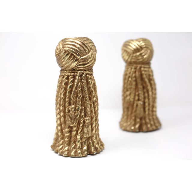 1990s Vintage Gold Rope and Tassel Candlesticks For Sale - Image 5 of 10