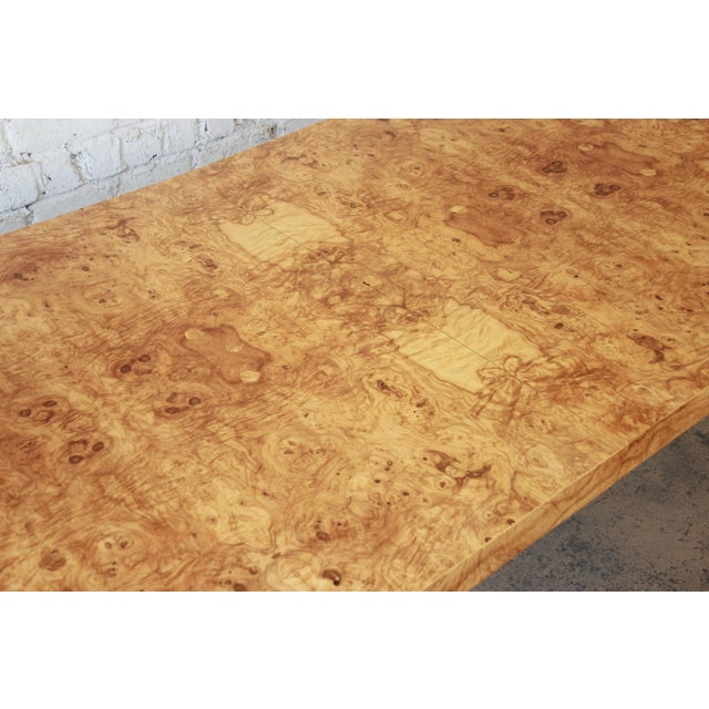 Brown Milo Baughman for Directional Burl Wood Parsons Extension Dining Table For Sale - Image 8 of 11