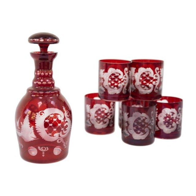 Vintage Ruby Red Bohemian Glass Decanter Set For Sale - Image 4 of 4