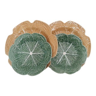 Majolica Cabbage Gold & Green Chargers & Salad Plates - Set of 4