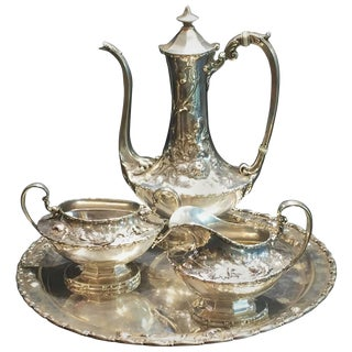 Reed & Barton, American Art Nouveau Sterling Silver Tea and Coffee Service, 1900 For Sale