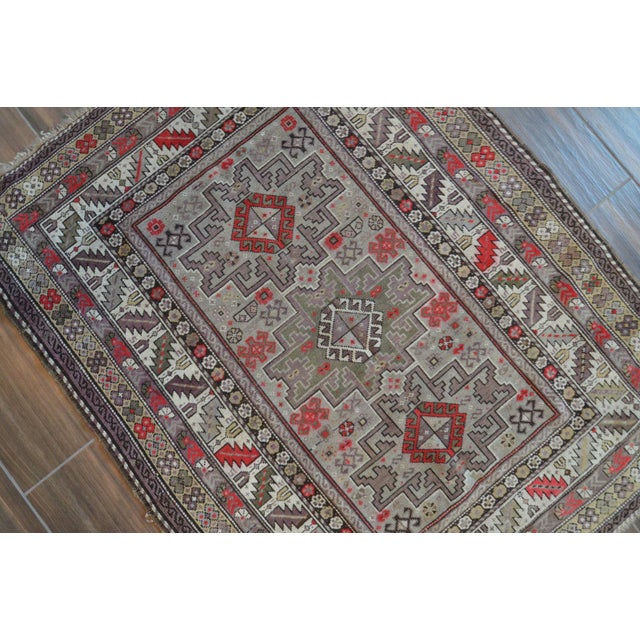 Distressed Vintage Star Kazak Rug - 3′9″ × 5′ - Image 5 of 9
