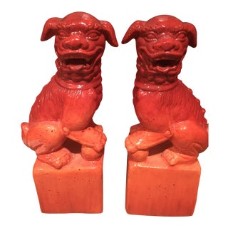 Chinese Red Plaster Food Dog Figures - a Pair