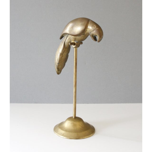 Vintage Brass Parrot on Perch Figurine Mid Century For Sale - Image 4 of 8