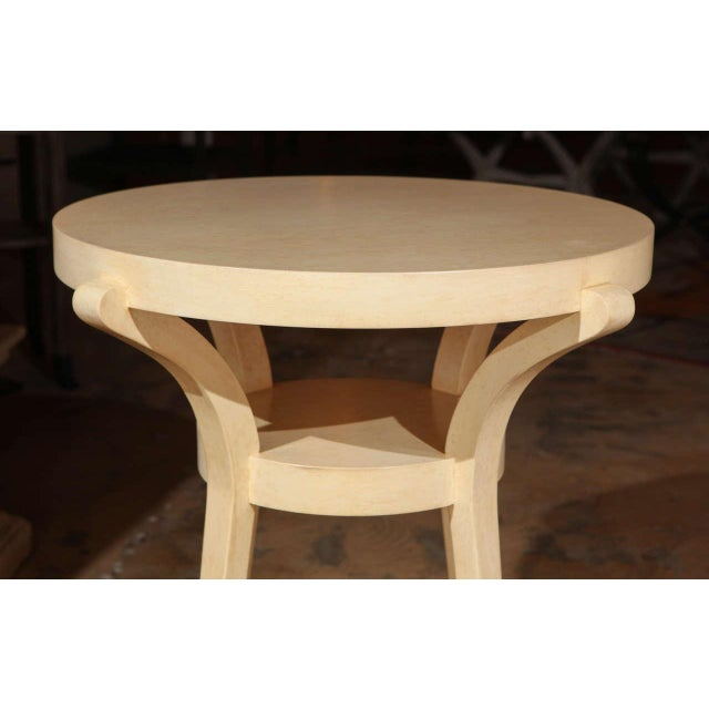 1990s Faux Parchment Sculptural Side Table For Sale - Image 4 of 6