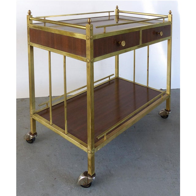 Traditional Bi-Level Brass Rolling Bar Trolley W/ Wood Accents For Sale - Image 3 of 10