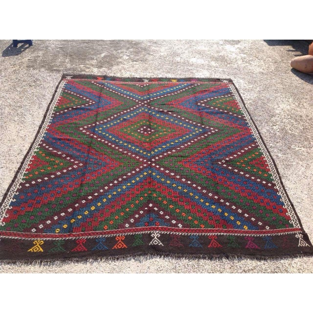 "Boho Chic Vintage Turkish Kilim Rug - 8'4"" x 9'4"" For Sale - Image 3 of 7"