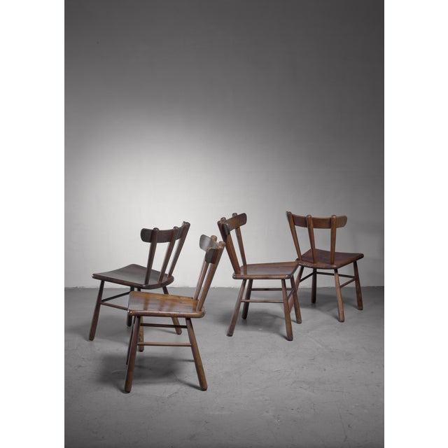 Mid-Century Modern Set of Four Scandinavian Dining Chairs For Sale - Image 3 of 6