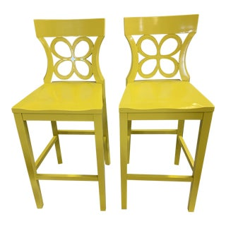 """Lilly Pulitzer Home Yellow """"Breakers"""" Barstools For Sale"""