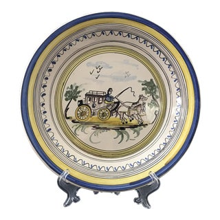 19th Century French Faience Horse Bowl/Plate For Sale