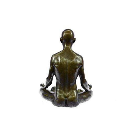 Bronze Yoga Sport Edition Bronze Sculpture on Marble Base Figurine For Sale - Image 7 of 9