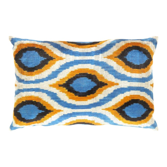 Blue, Yellow & White Silk Velvet Ikat Pillow For Sale