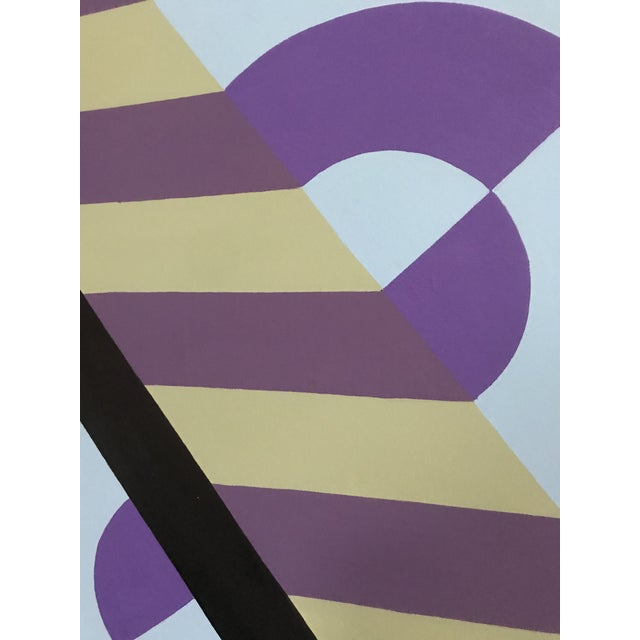 Colorful Hard Edge Abstract Op Art Painting on Canvas by J. Marquis For Sale - Image 4 of 6