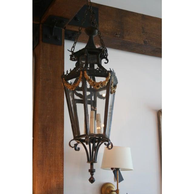 Black 19th Century Louis XV Style Iron Lantern For Sale - Image 8 of 9