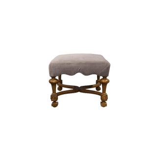 Late 20th Century Vintage Gray Upholstered Ottoman For Sale