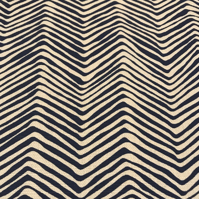 """Quadrille / China Seas """"Petite Zig Zag"""" Navy on Tint Fabric For Sale In Raleigh - Image 6 of 6"""