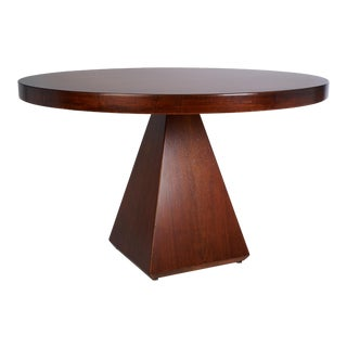1960s Vintage Vittorio Introini for Saporiti Italian Geometric Walnut Dining Table For Sale