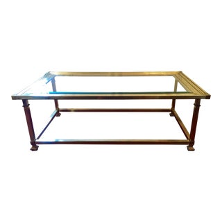 Vintage Hollywood Regency Style Brass & Glass Coffee Table
