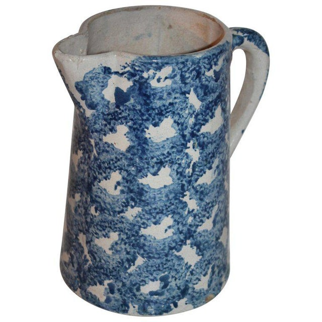 Blue 19th Century Design Sponge Ware Pitcher For Sale - Image 8 of 8