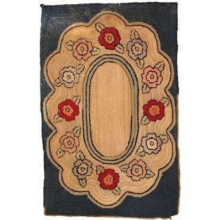 1900s, Handmade Antique American Hooked Rug 2.1' X 3.3' For Sale
