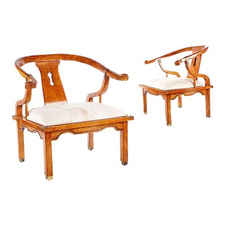 Hollywood Regency Vintage James Mont Horseshoe Chairs - a Pair