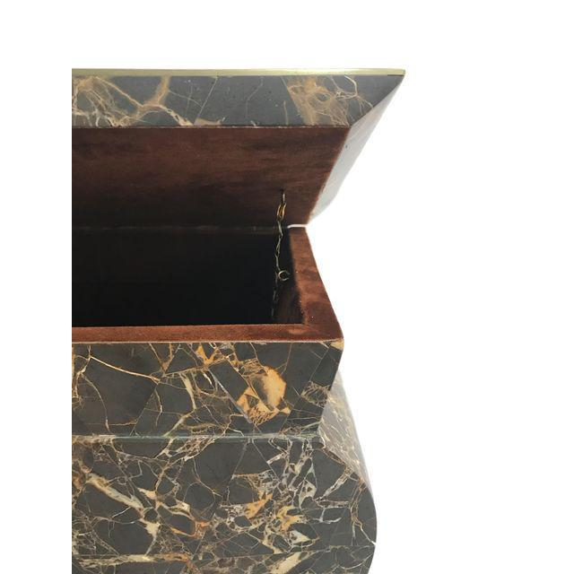 Antique Marble Hollywood Regency Mini Trunk - Image 5 of 9