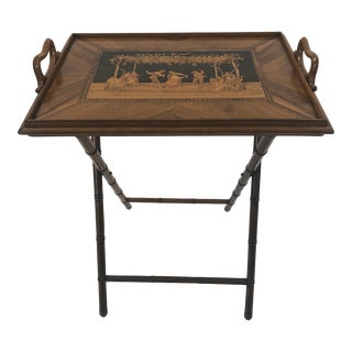 Incredible Walnut Inlaid Figural Tray and Game Table For Sale