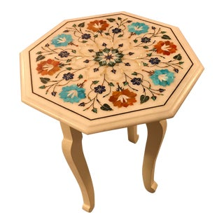 White Marble Inlaid Octagonal Tabletop Side Table For Sale