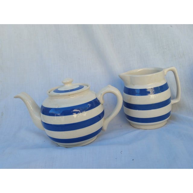 50's Cornish Stripe Pottery Tea Set - Image 2 of 5
