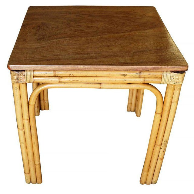 Mid-Century Four Person Rattan and Mahogany Dining Table - Image 2 of 6