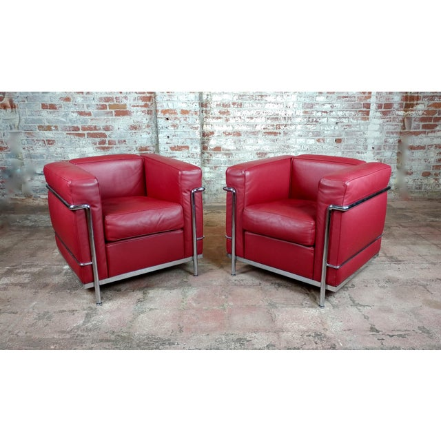 Le Corbusier Lc2 Red Leather Poltrona Armchairs by Cassina - A Pair For Sale - Image 13 of 13