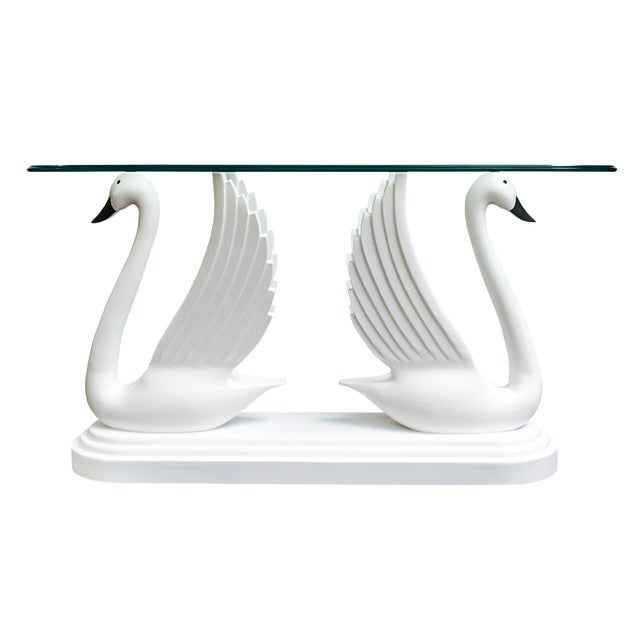 Double Swan Glass Top Console Table For Sale