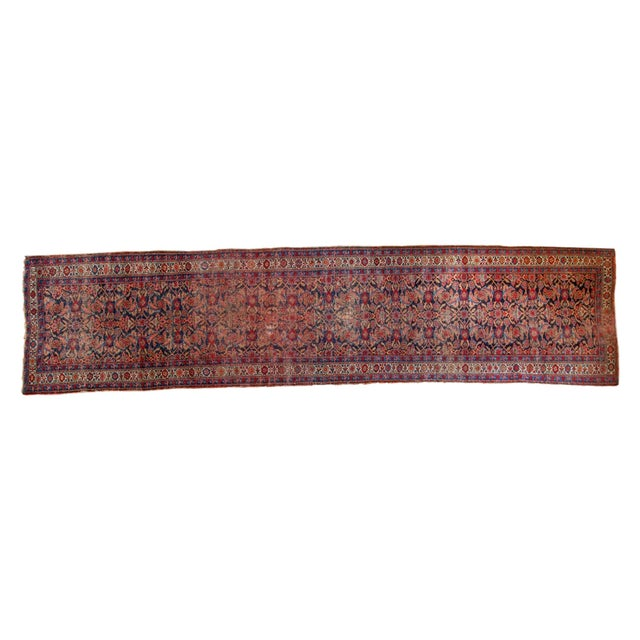 "Vintage Distressed Bijar Rug Runner - 3'7"" x 15'2"" - Image 1 of 10"
