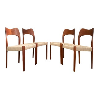 Set/4 Danish Teak and Cord Dining Chairs by Arne Hovmand-Olsen for Selig For Sale