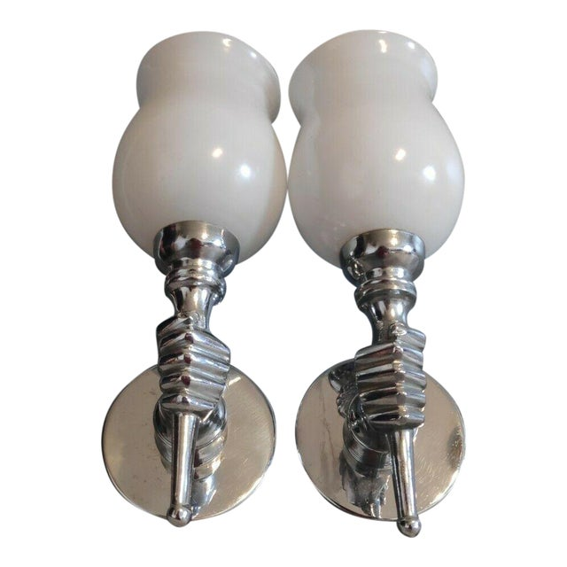 C1930 Vintage French Art Deco Opposing Hands Nickel Over Bronze Sconces by Andre Arbus - a Pair For Sale