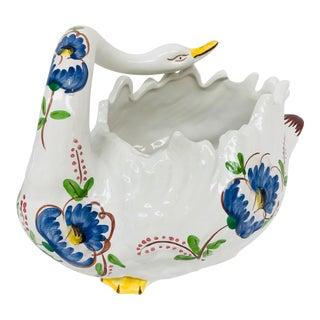 Madcap Cottage Italian Ceramic Floral Swan Centerpiece For Sale